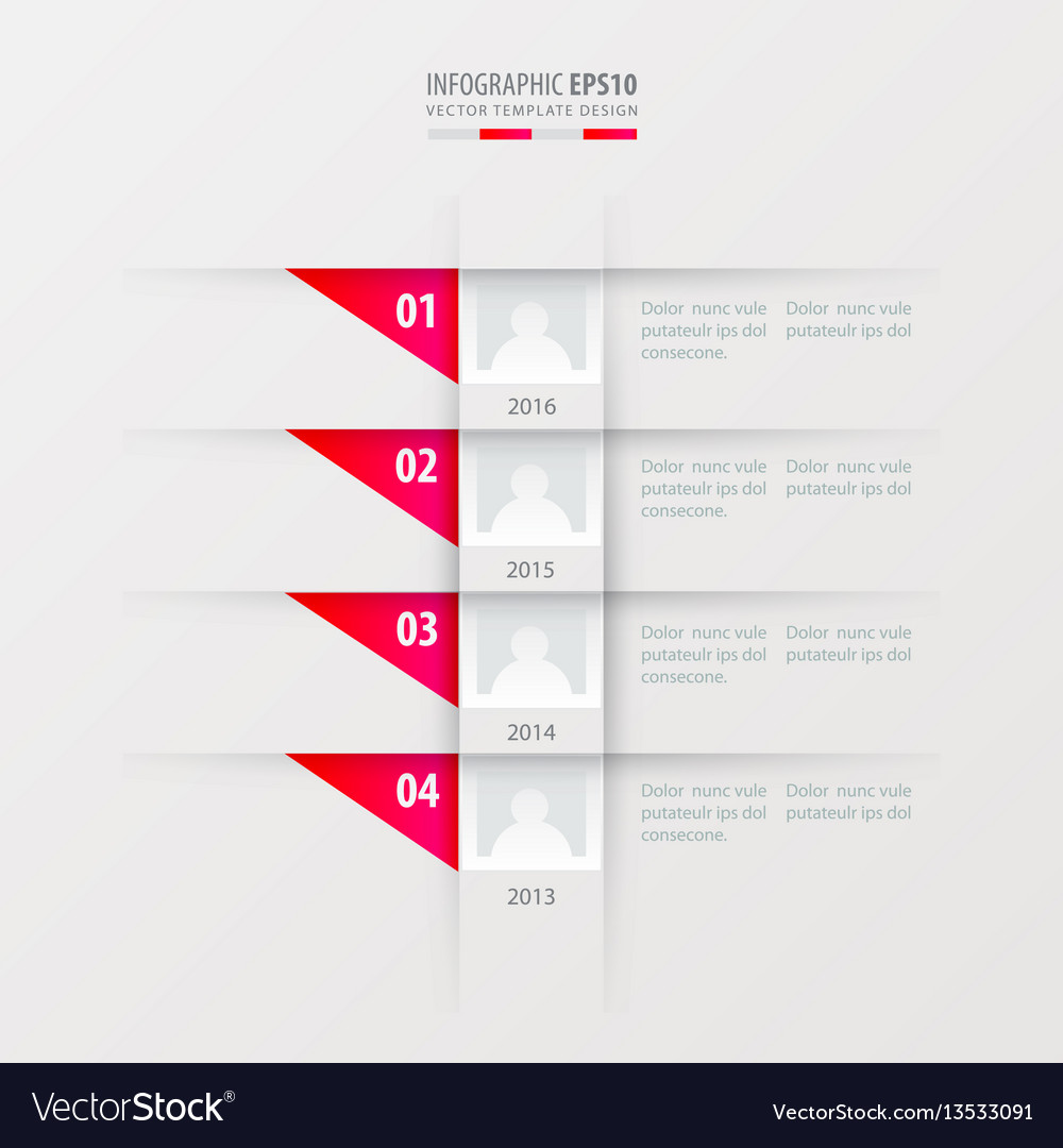 Timeline design template pink gradient color vector image