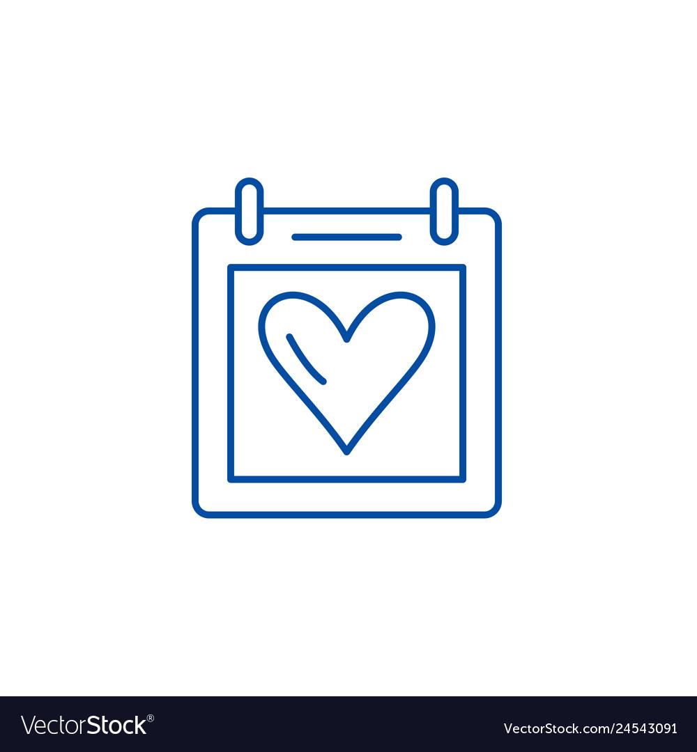 Valentines day line icon concept valentines day