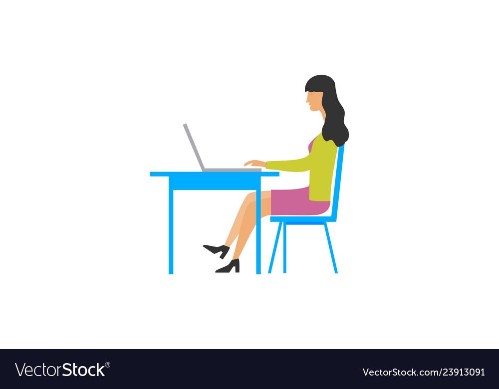 Women business work character logo