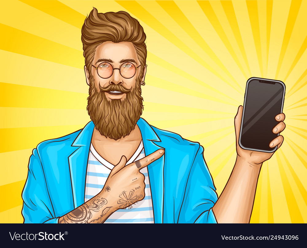 Bearded hipster with tattoos point on smartphone