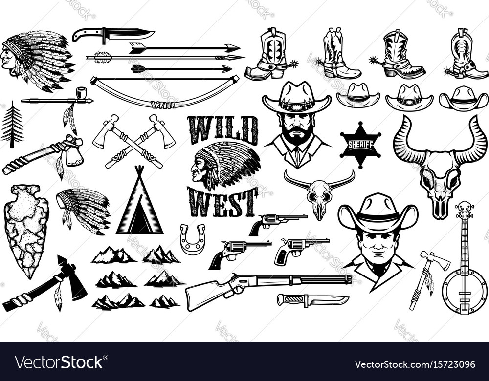 Big set of wild west iconscowboys indians vintage