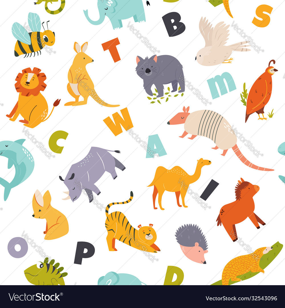 Colorful seamless pattern with cute funny animals