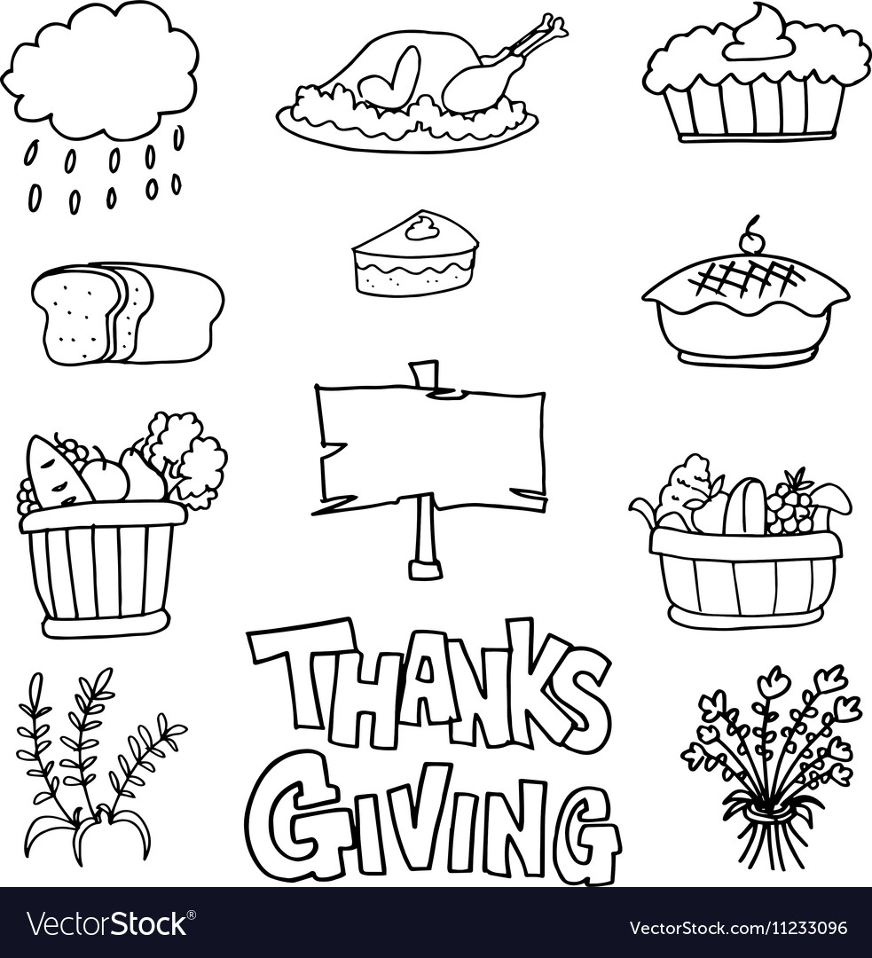 Doodle of thanksgiving stock colelction vector image