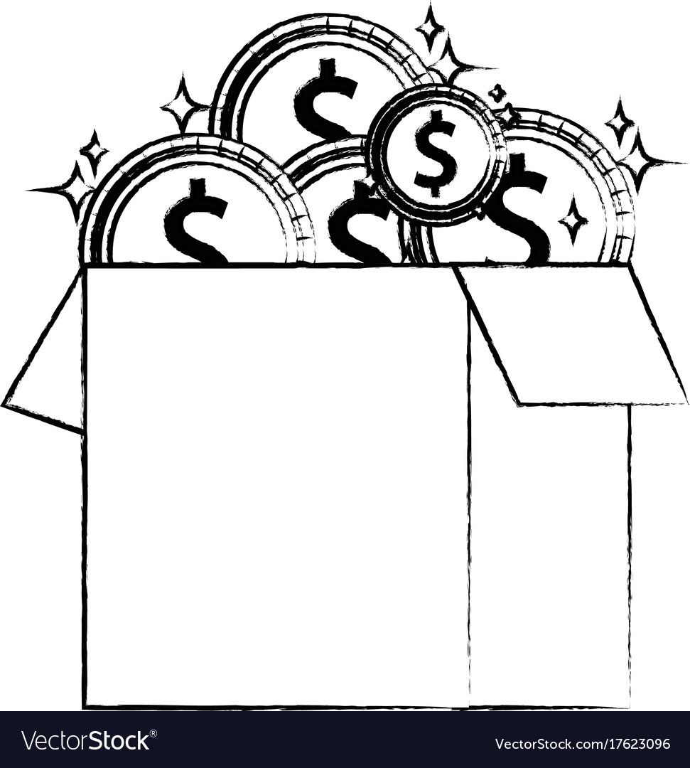 Figure box open with coins cash money