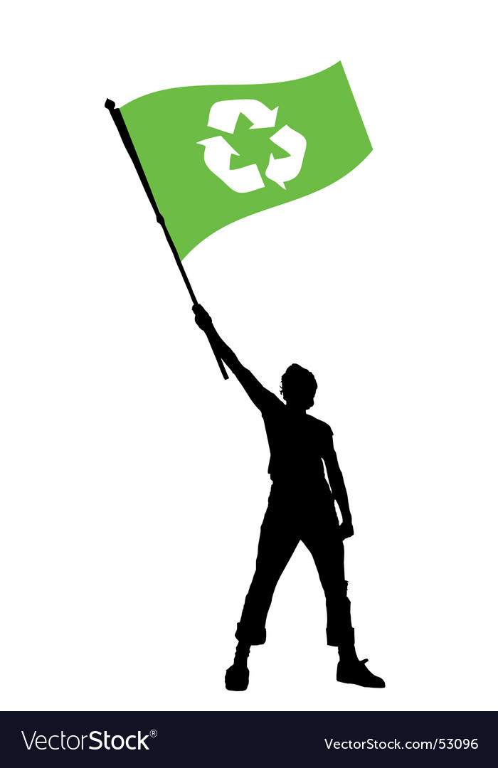 Man holding a recycle flag vector image
