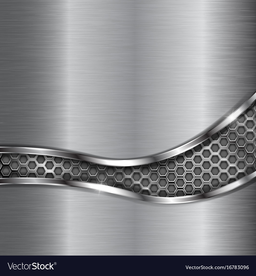Metal brushed background with perforated wave