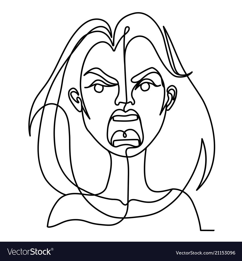 Screaming woman one line art portrait