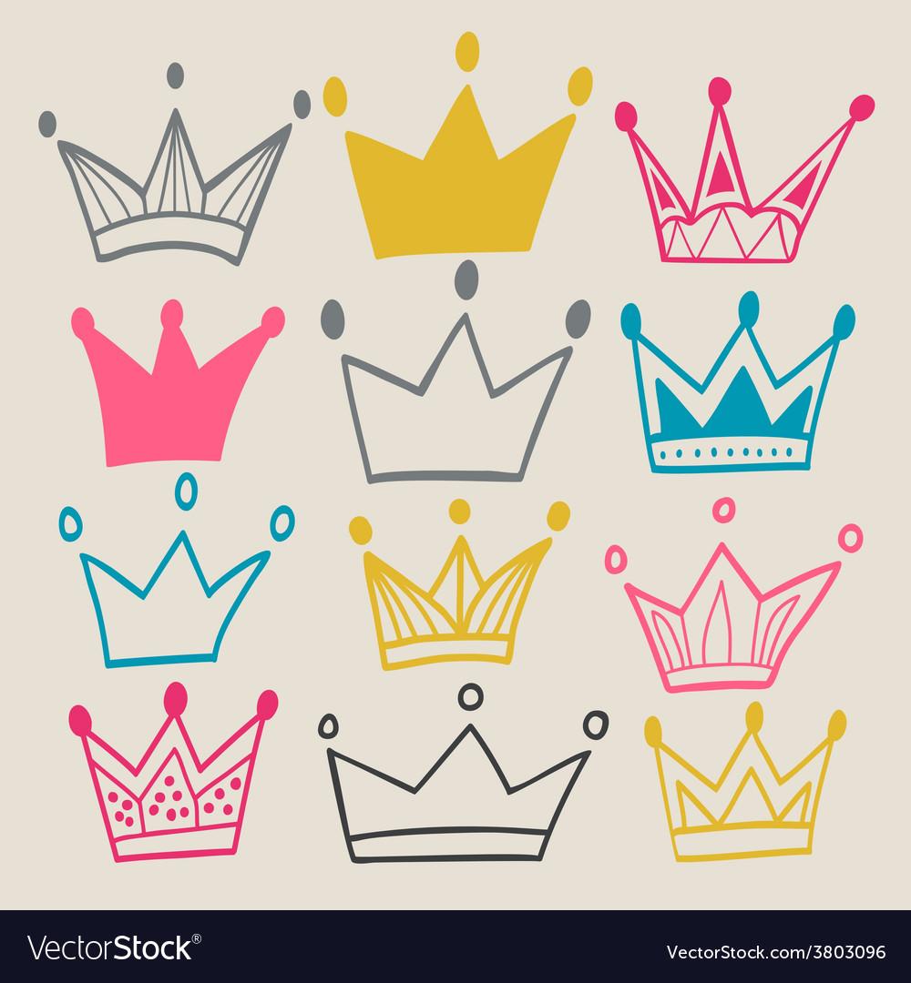 Set Cute Cartoon Crowns Royalty Free Vector Image Crown cartoon designer, cute pink crown transparent background png clipart. vectorstock