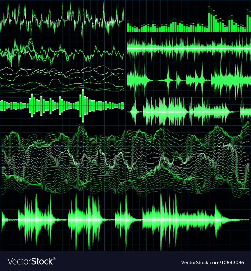 Sound waves set Music background EPS 10