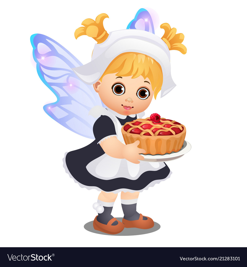 A little happy animated girl with fairy wings