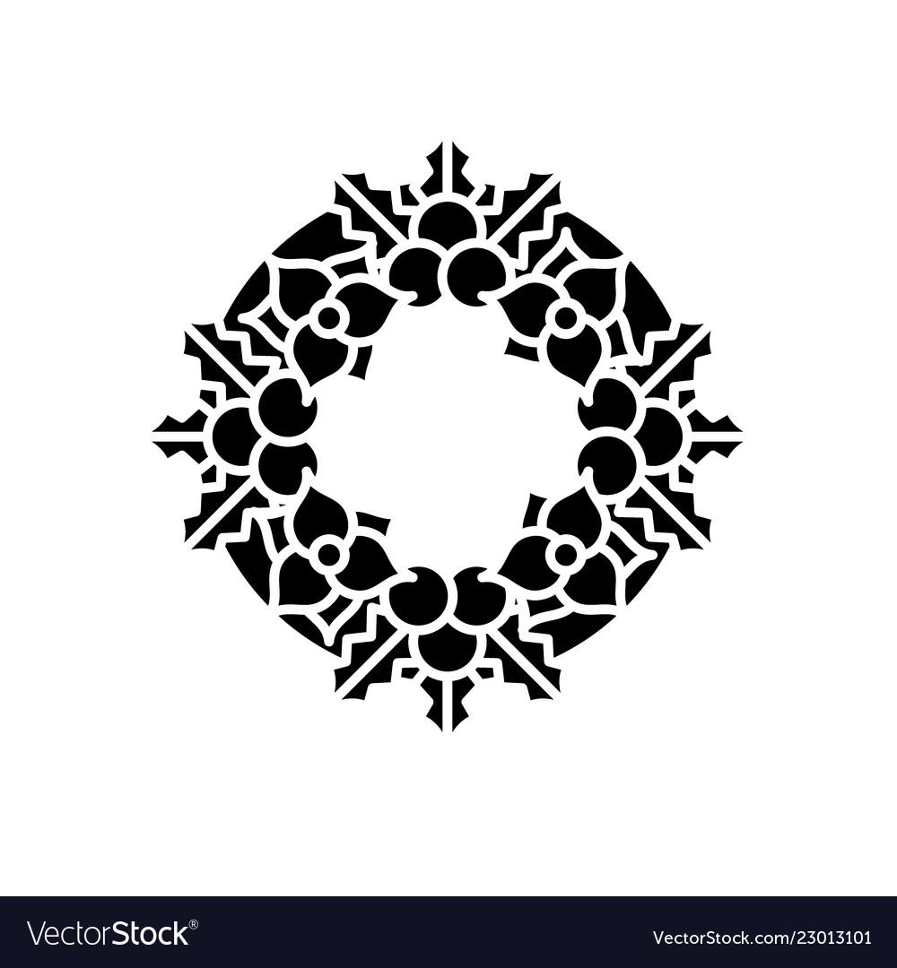 Christmas decoration wreath black icon