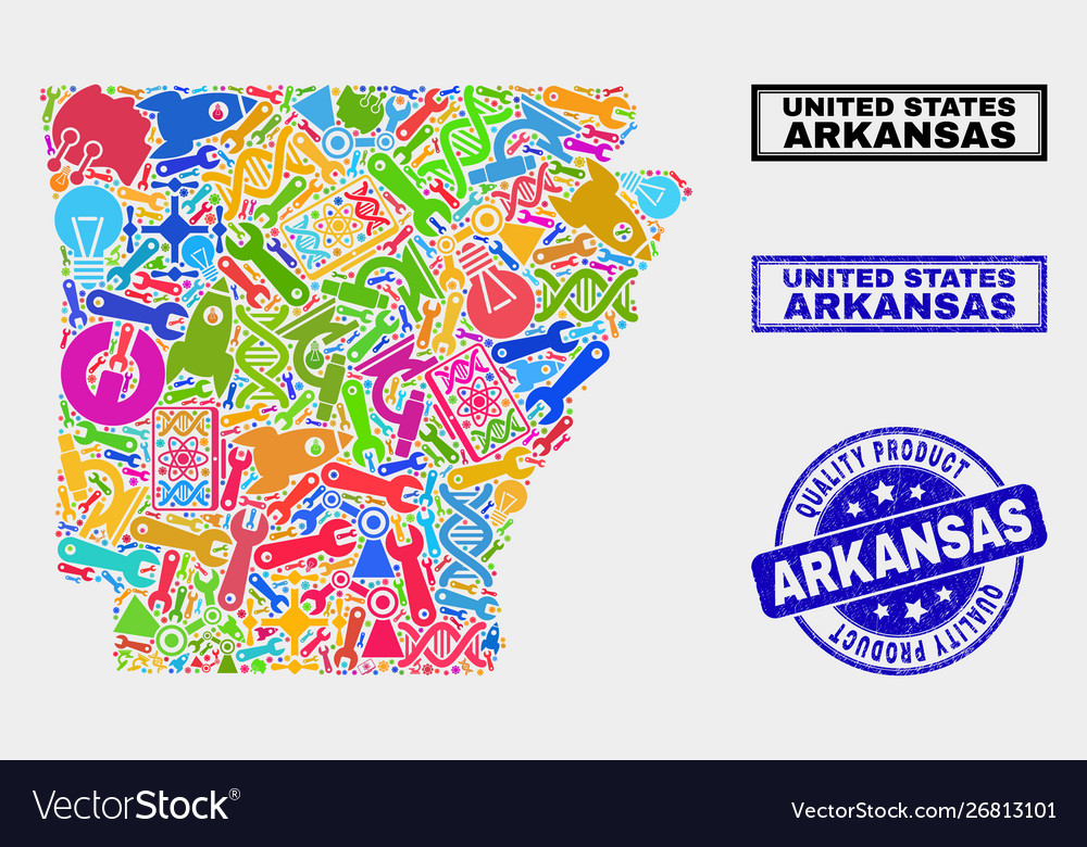 Composition technology arkansas state map and