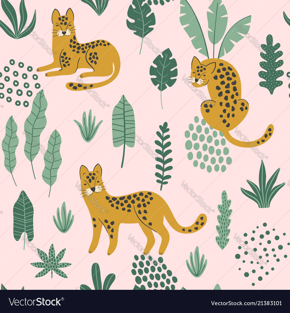Cute seamless pattern with hand drawn leopards