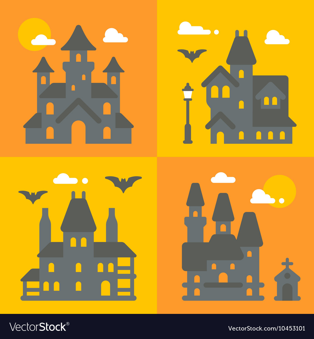 Flat design haunted house set vector image