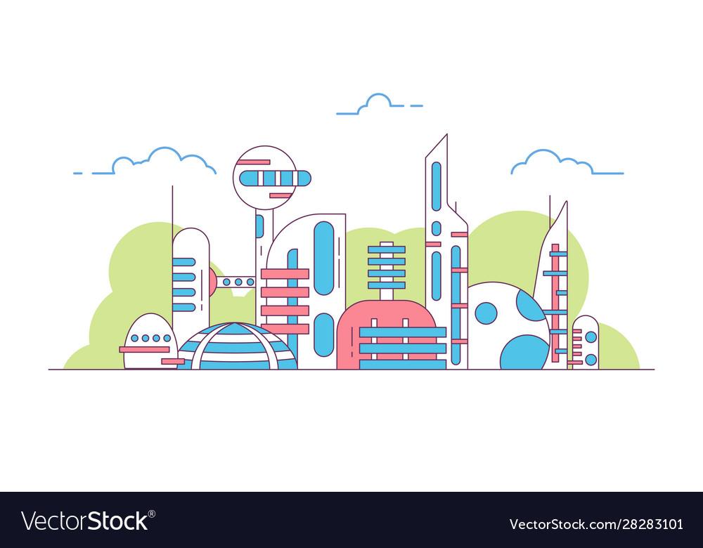 Futuristic city view line style