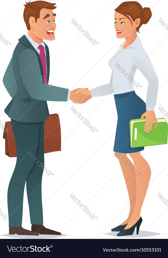 Handshake business woman and business man