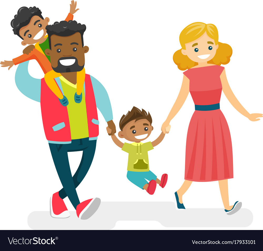 Happy multiracial family walking and having fun