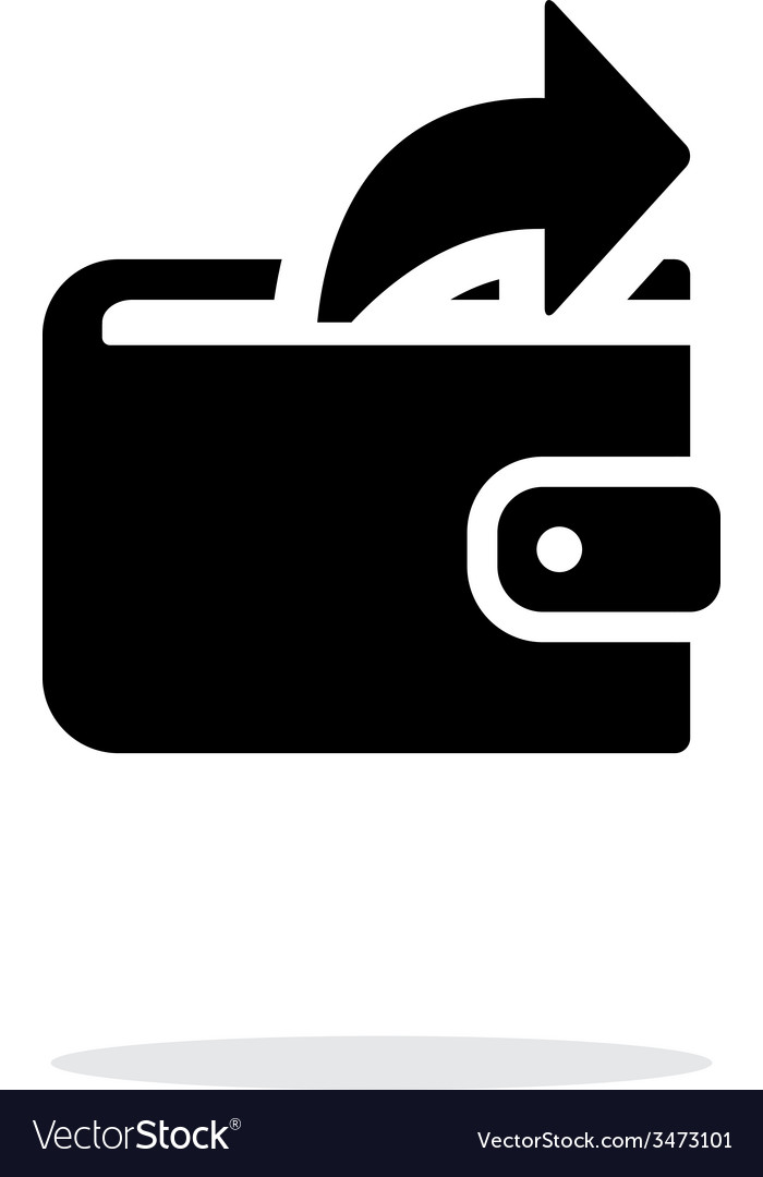 Outgoing payment from wallet icon on white vector image