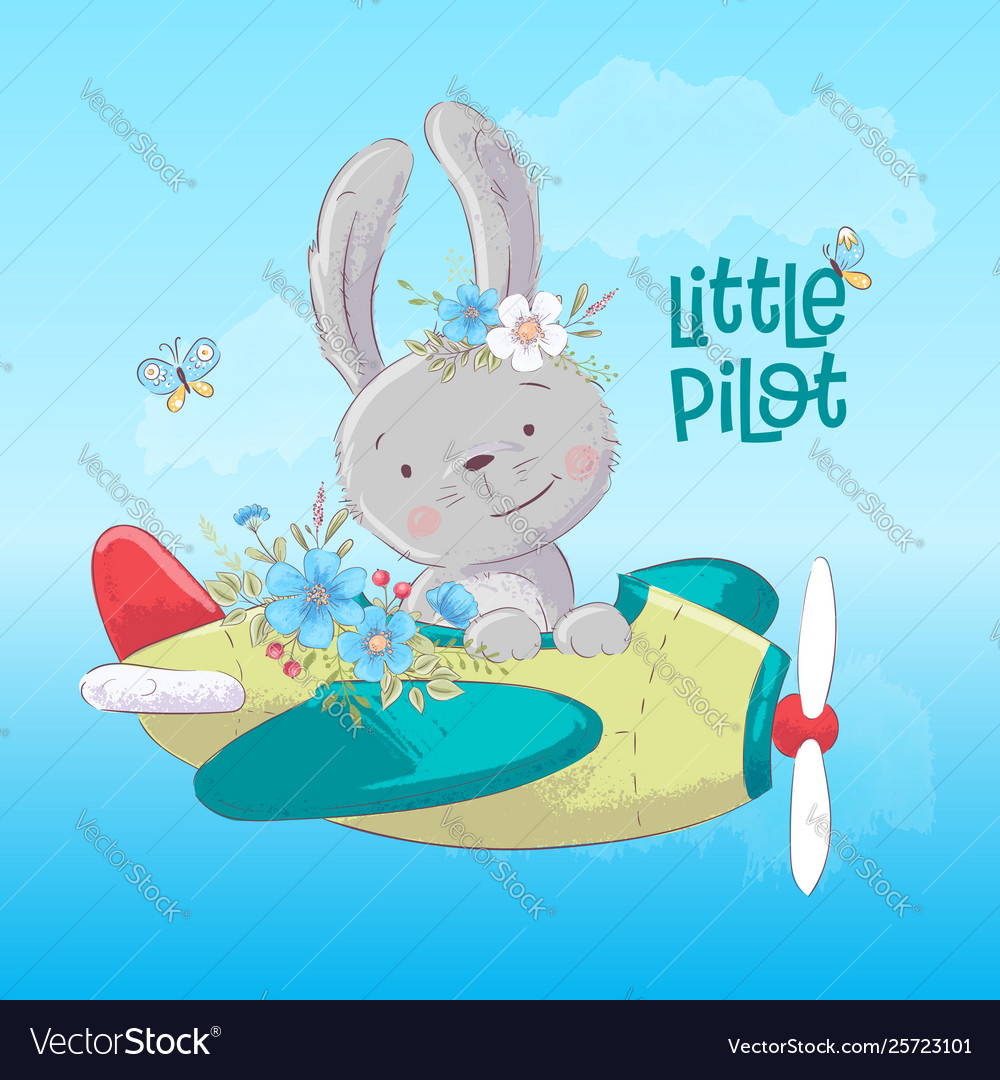 Postcard poster cute bunny on plane and