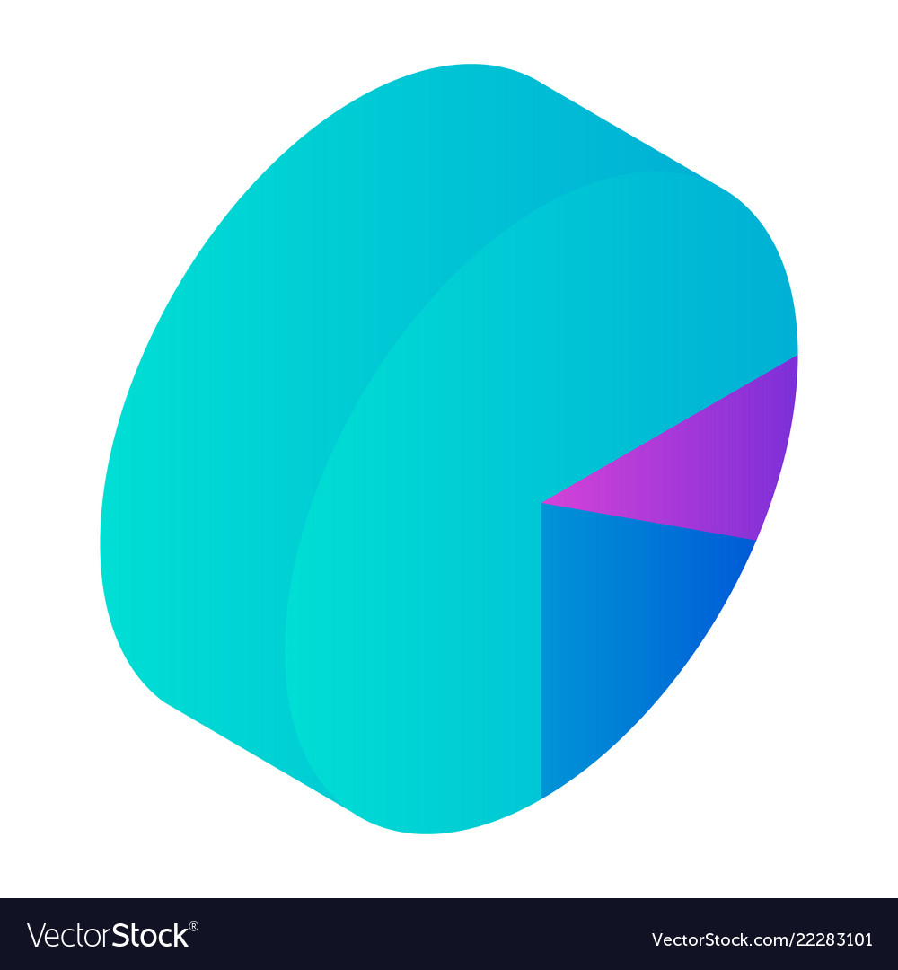 Round graph icon isometric style
