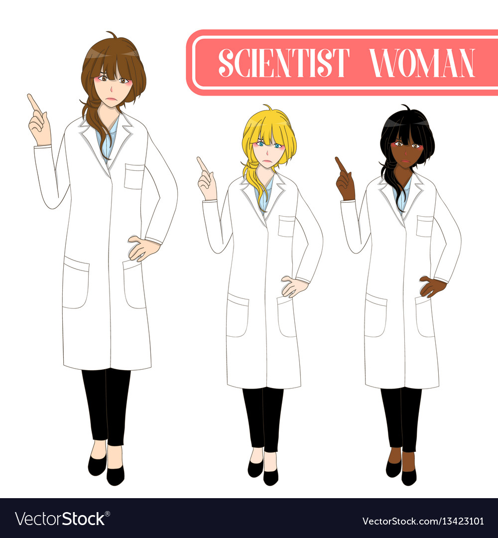 Scientist woman pointing up with serious face vector image