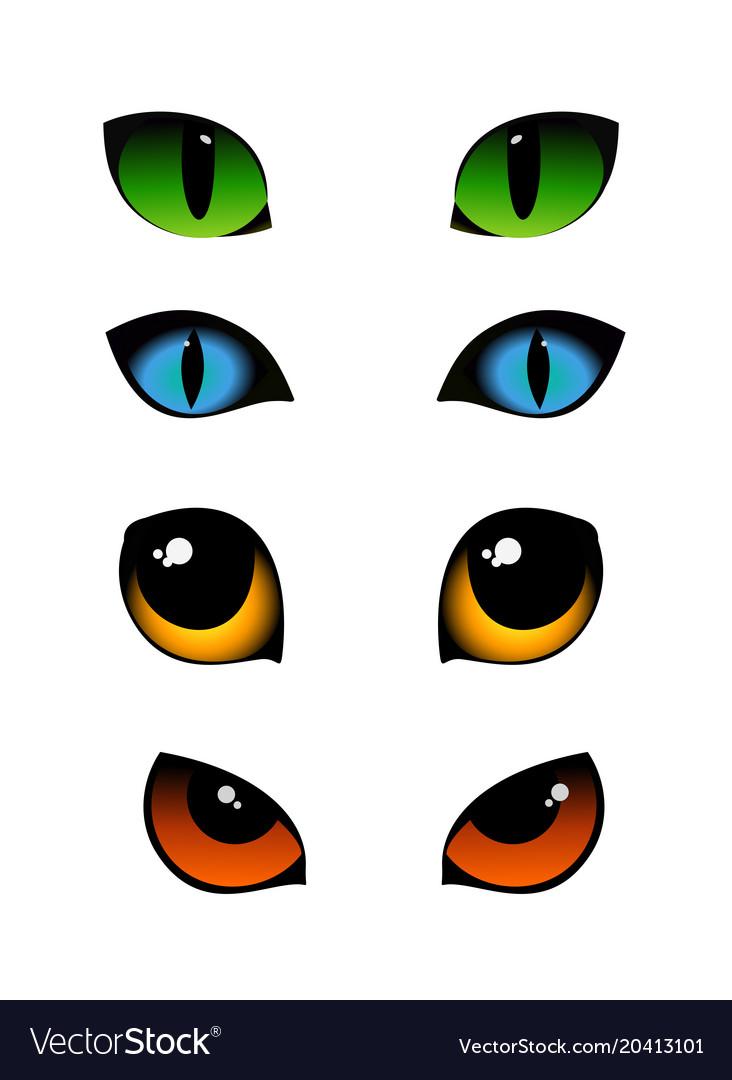 Set of cat emotions eyes in
