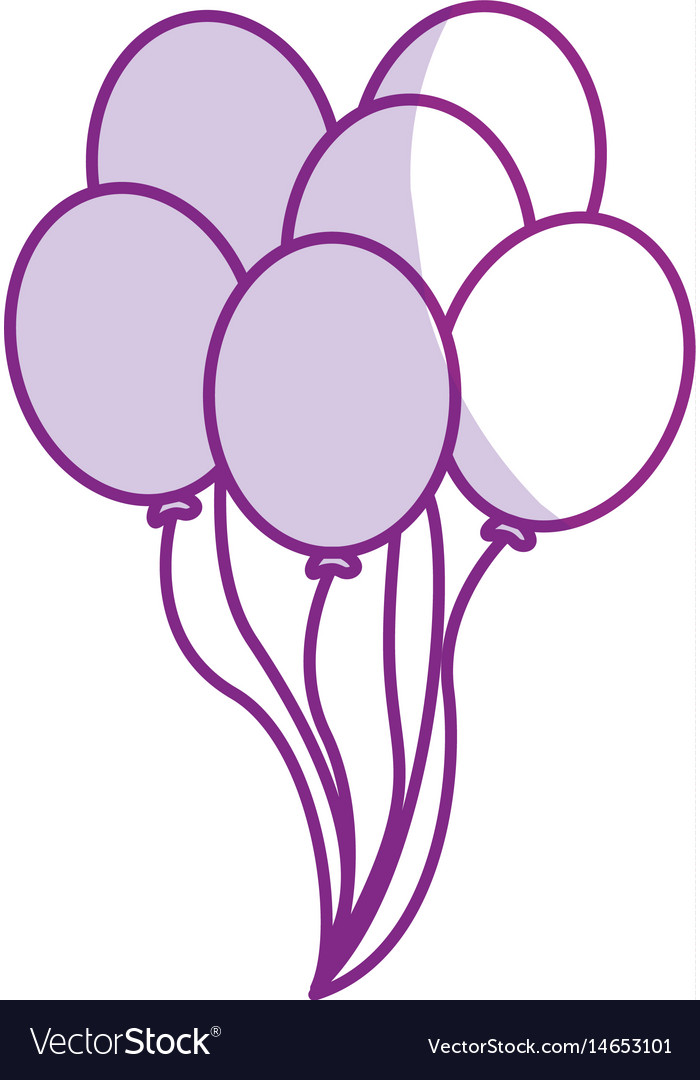 Silhouette balloons party to happy birthday vector image