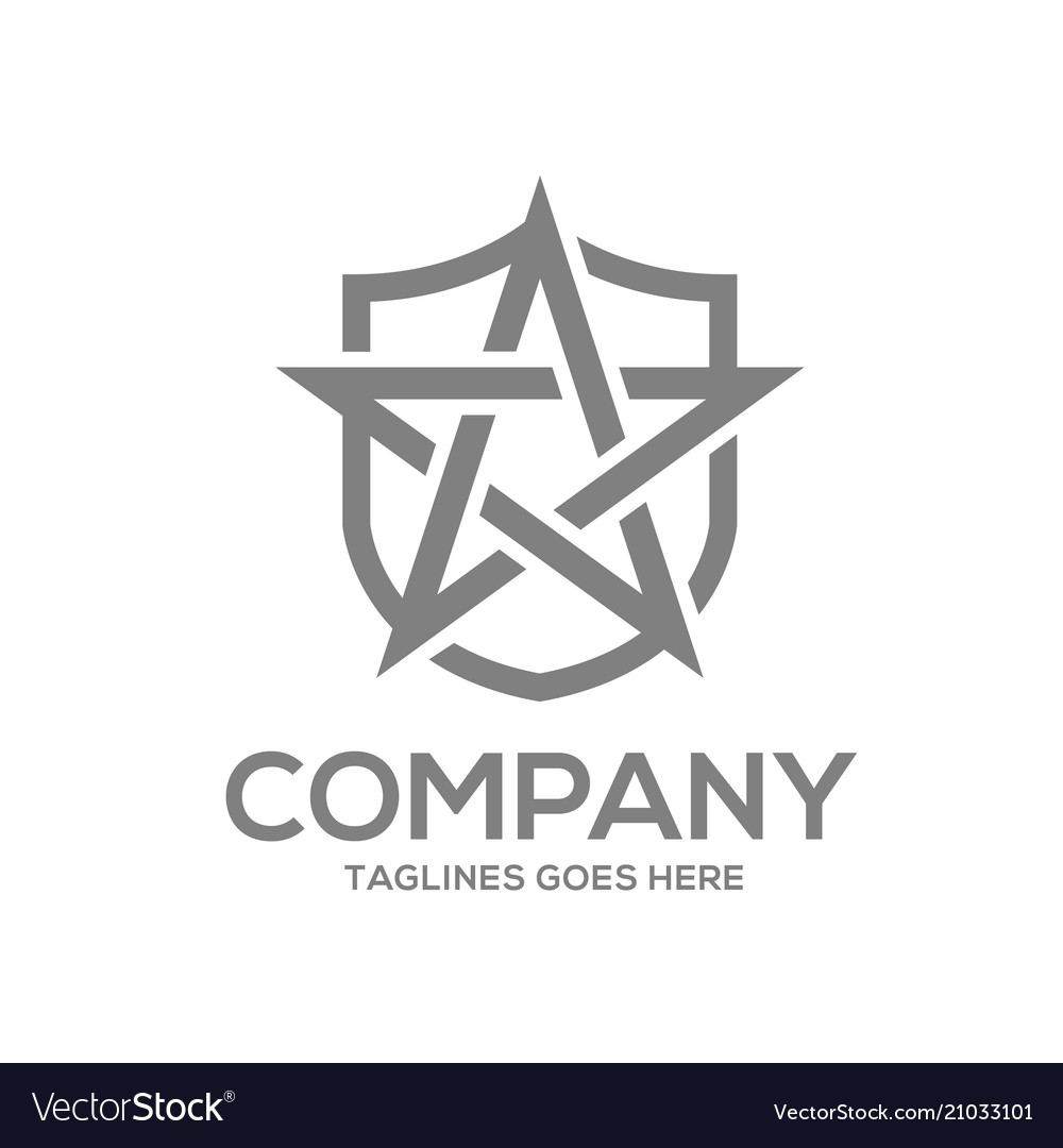 Star and shield logo design concept template