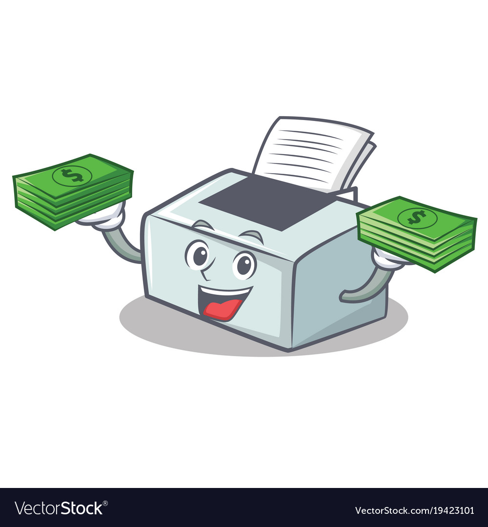 With Money Printer Mascot Cartoon Style Royalty Free Vector