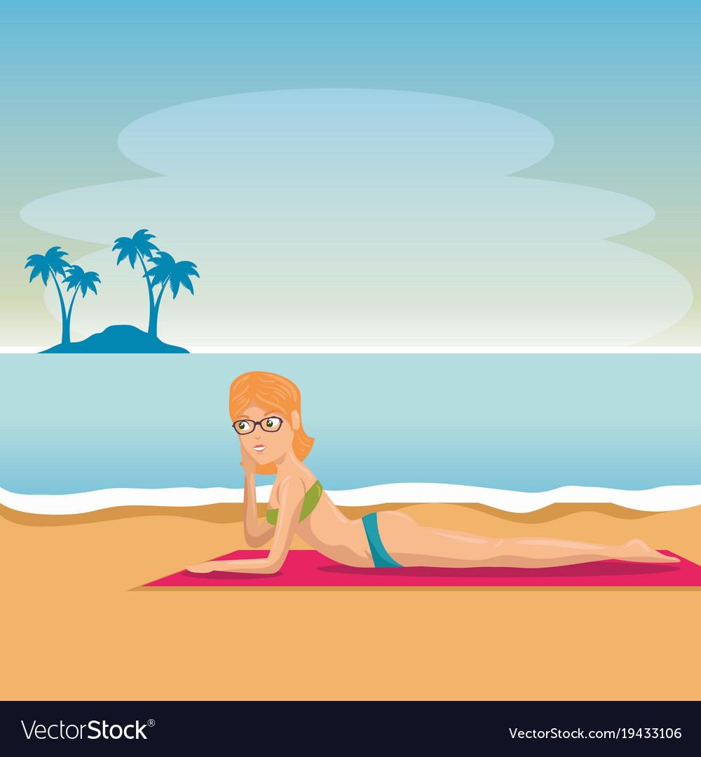 Beautiful woman sunbathe on the beach desing