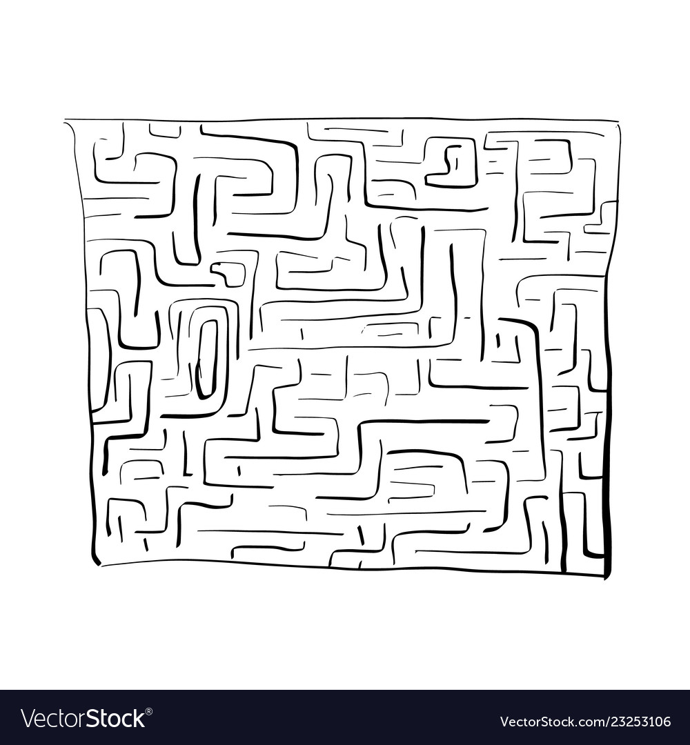 Black labyrinth on white background