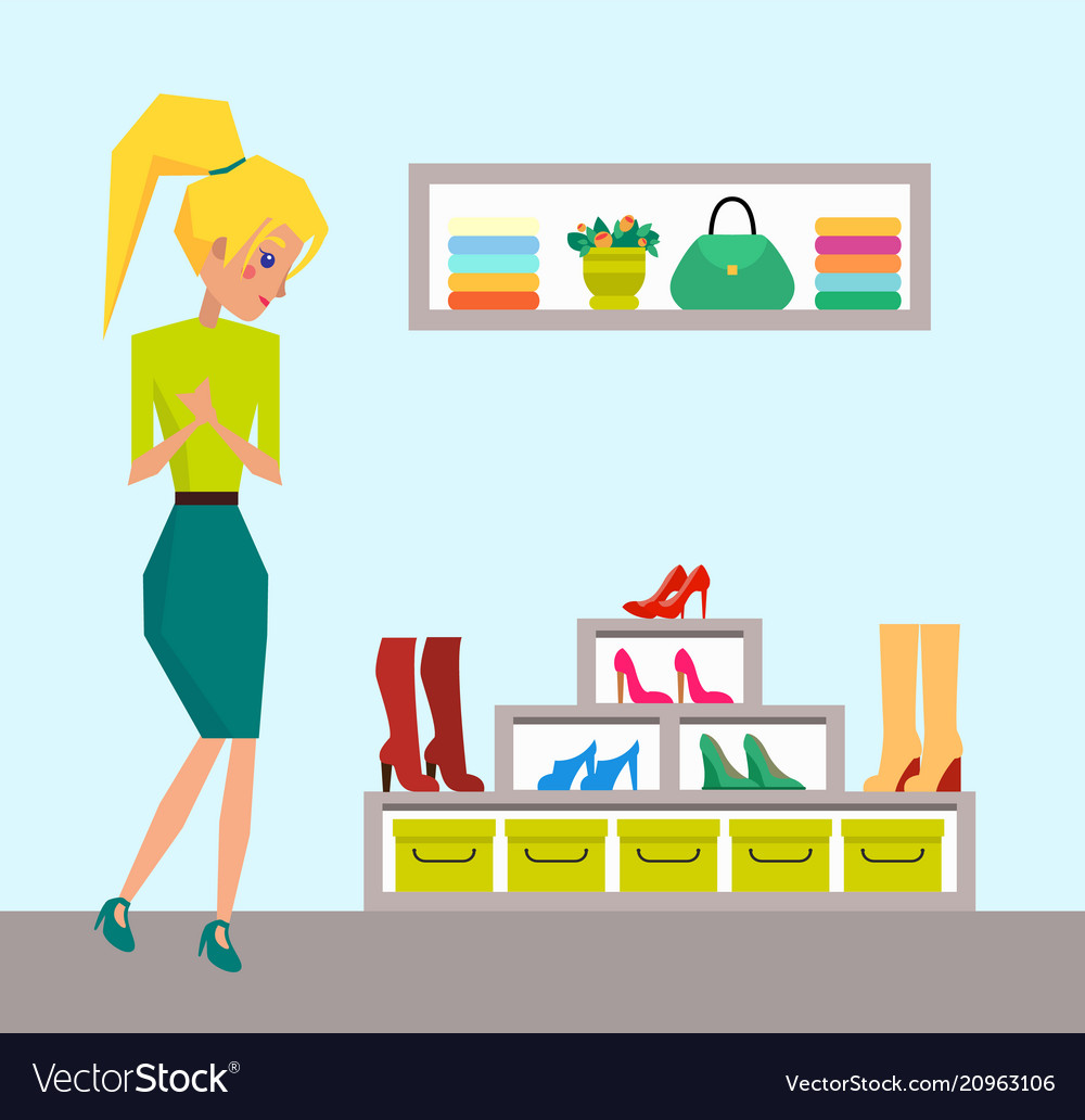 Cute blonde looking on rack with colorful shoes vector image