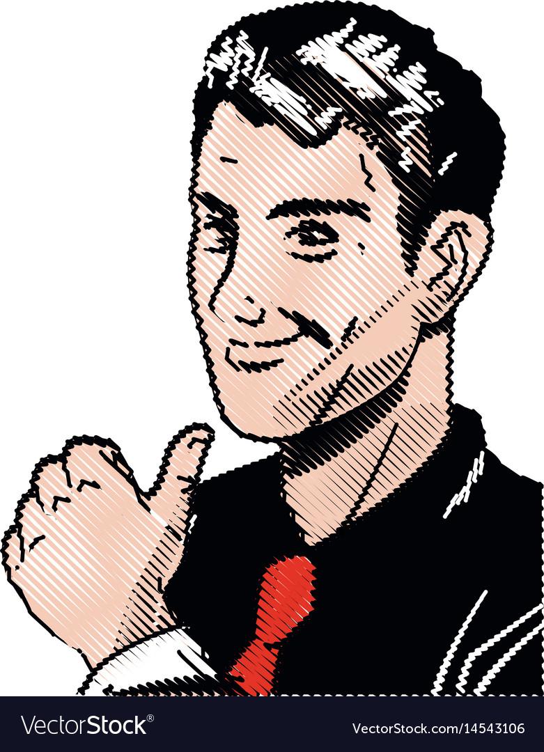 Drawing pop art man thumb up like vector image