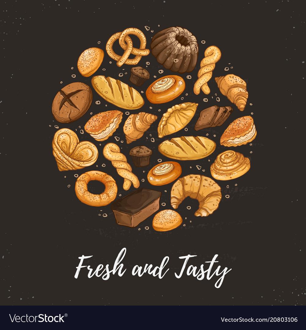 Fresh bread circle poster