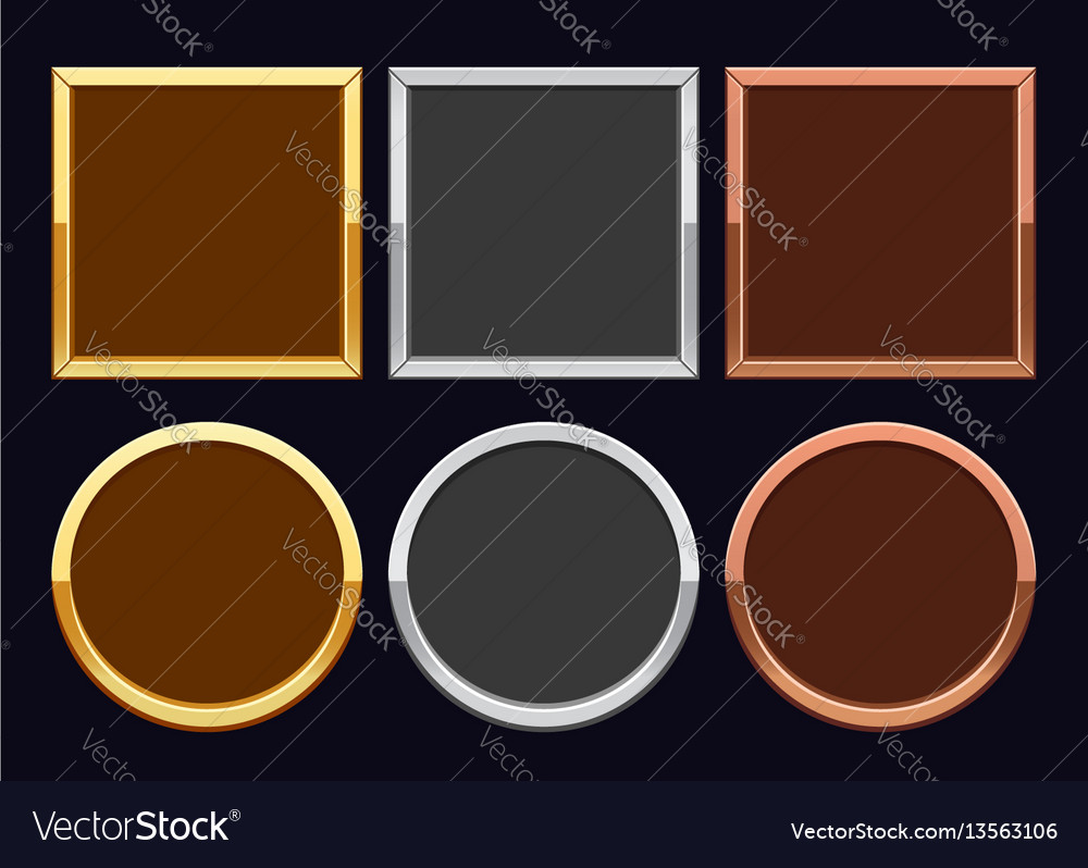 Gold Silver And Bronze Frames Royalty Free Vector Image