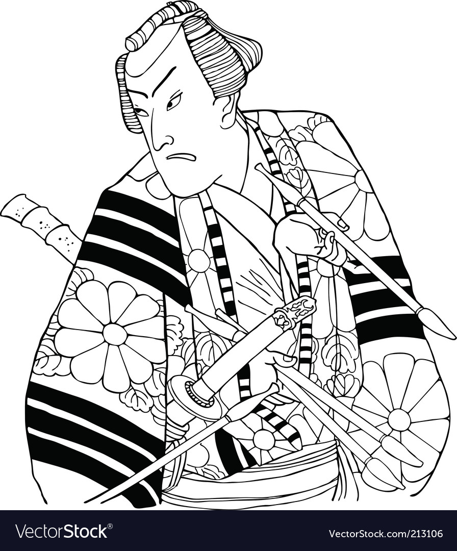 Japanese samurai vector image