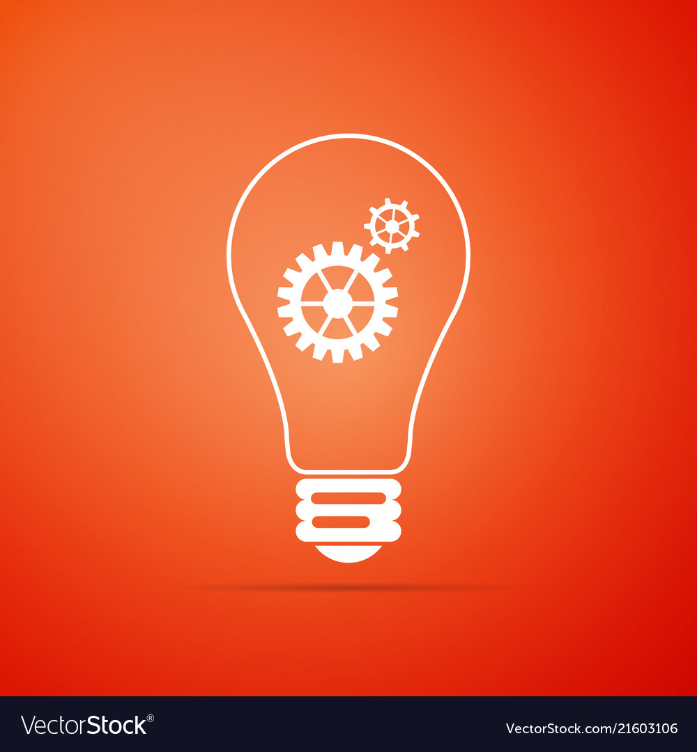 Light lamp icon bulb with gears and cogs symbol