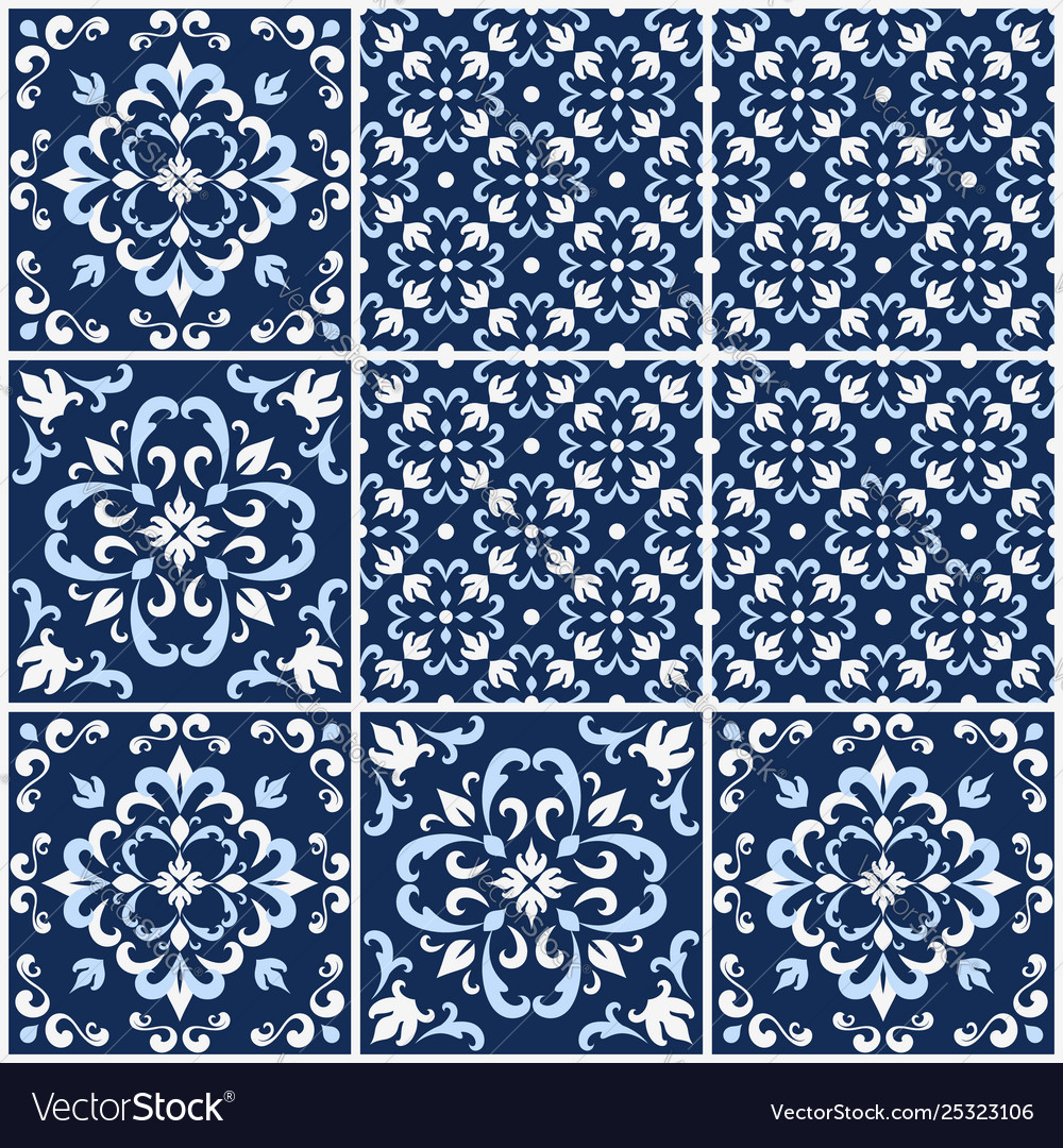 Portuguese tiles with azulejo patterns
