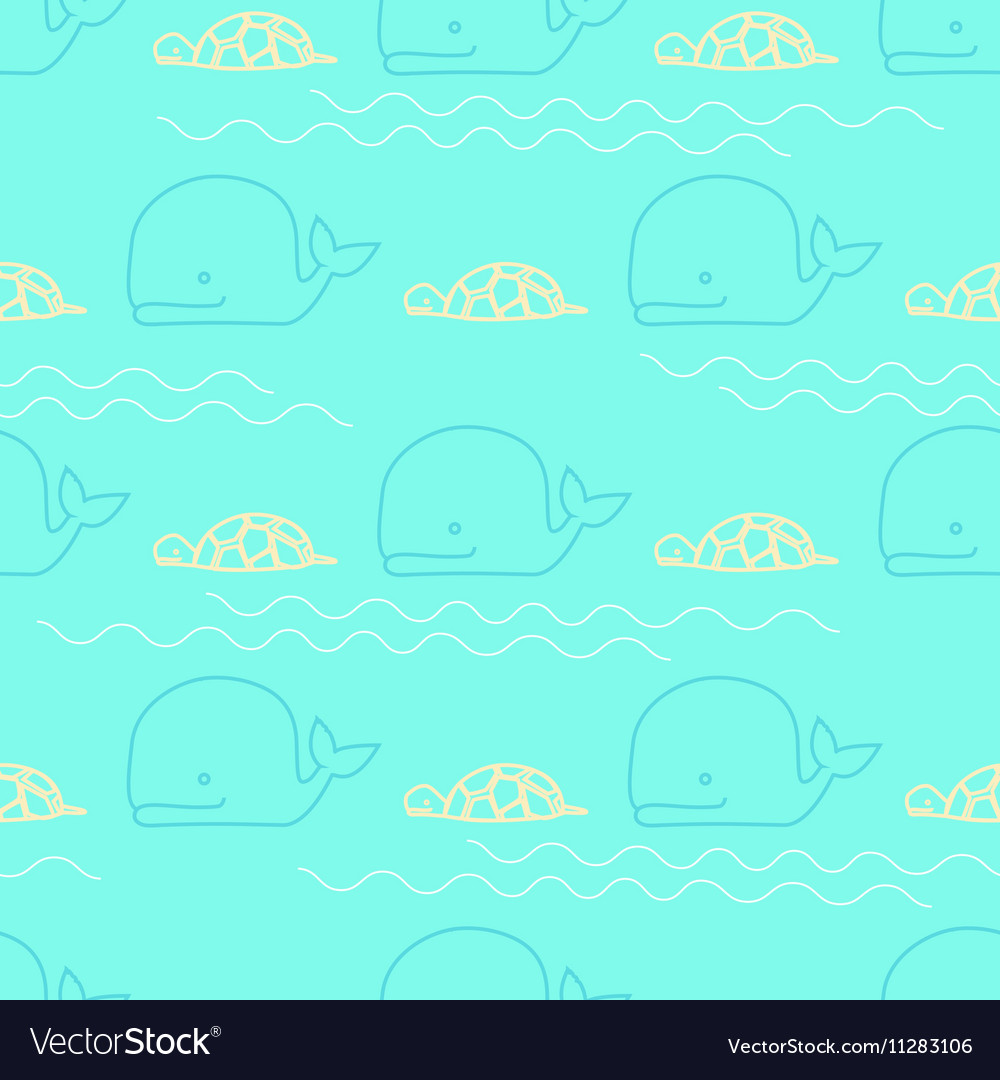 Seamless pattern whale turtle