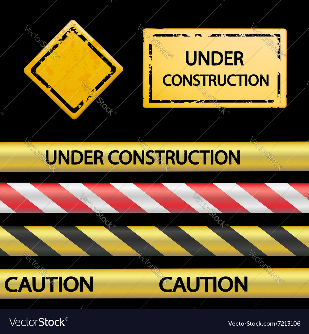 Set of signal tape and warning signs