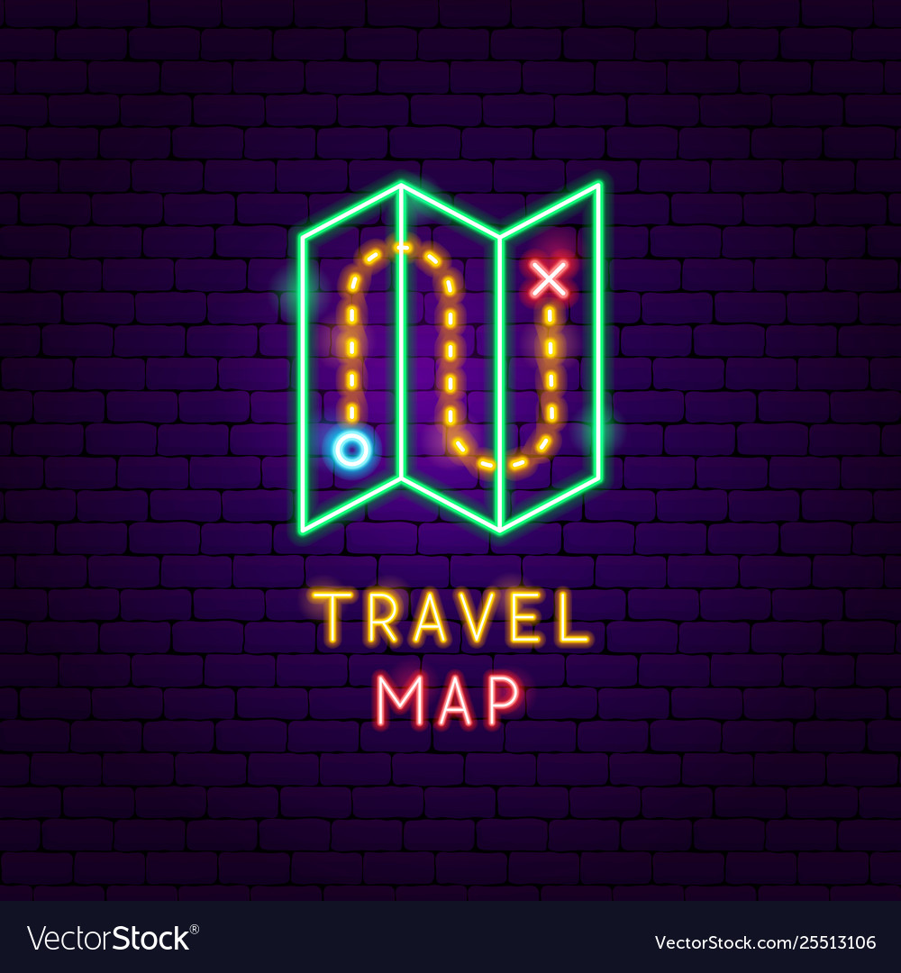 Travel map neon label