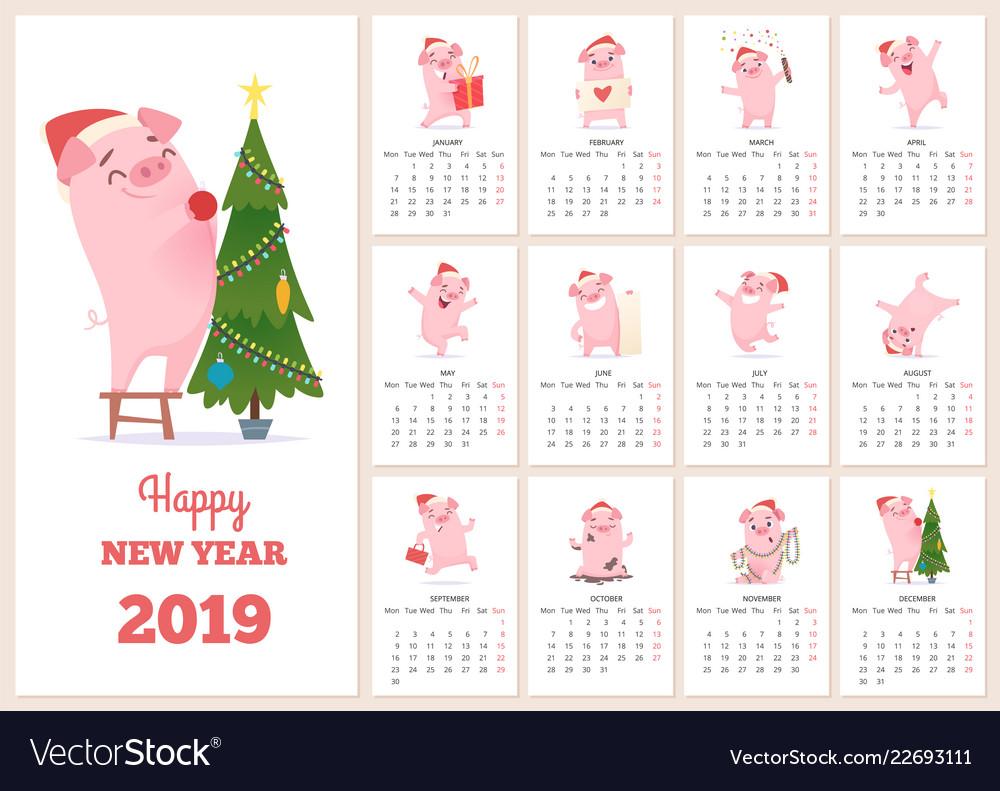 2019 calendar template new year celebration pig
