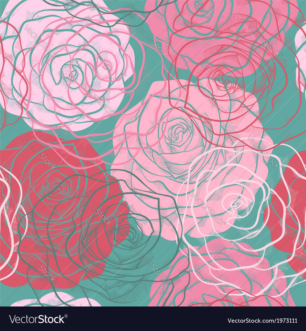 Beautiful seamless pattern with roses hand-drawn