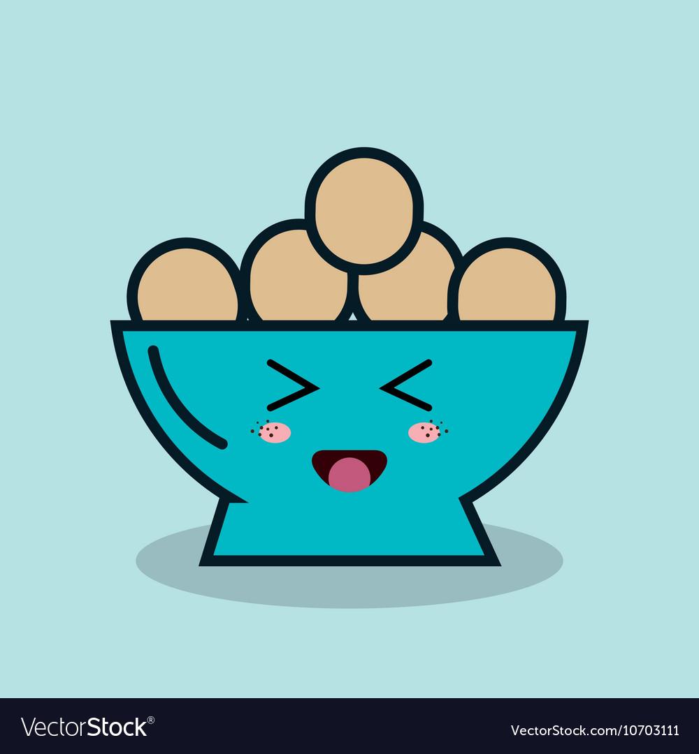 Bowl full eggs cartoon isolated icon design