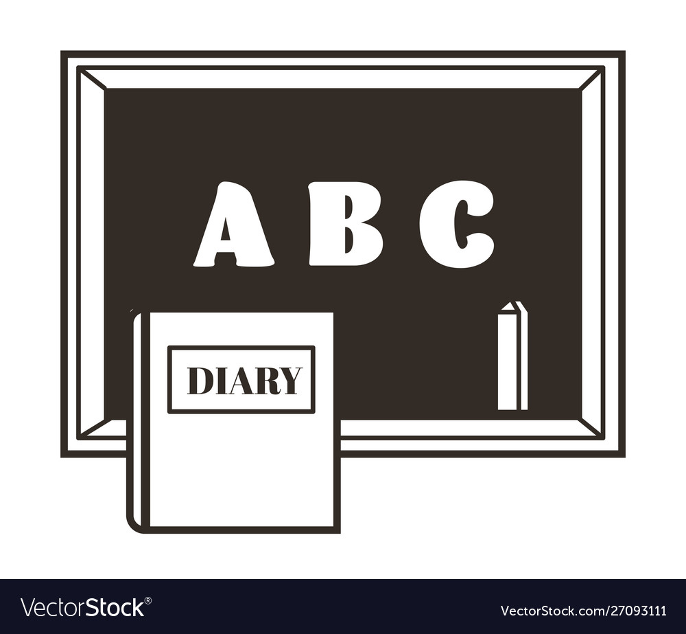 Chalkboard or blackboard with chalk and diary