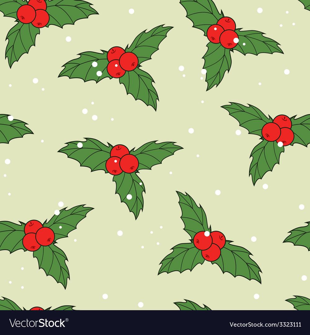 Christmas seamless pattern with ilex berries