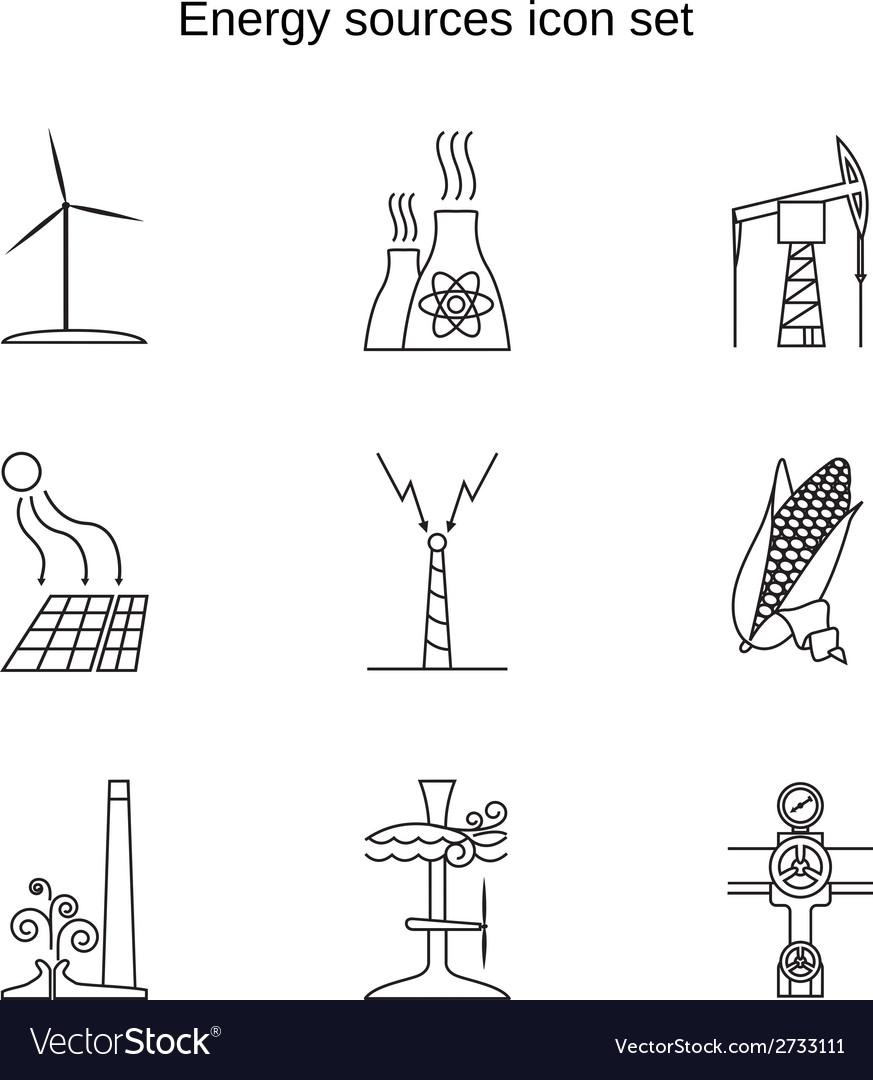 Energy sources icon set
