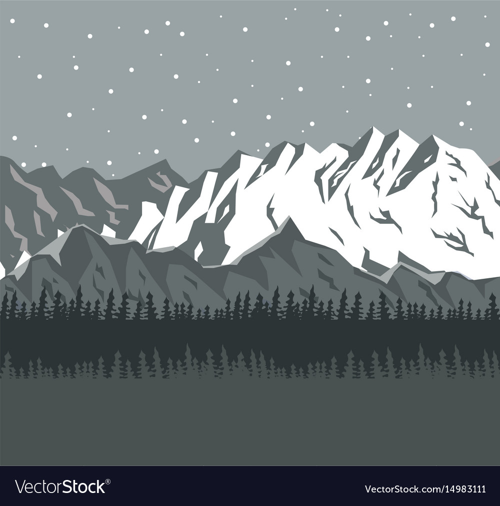 Monochrome scene landscape background of far snowy