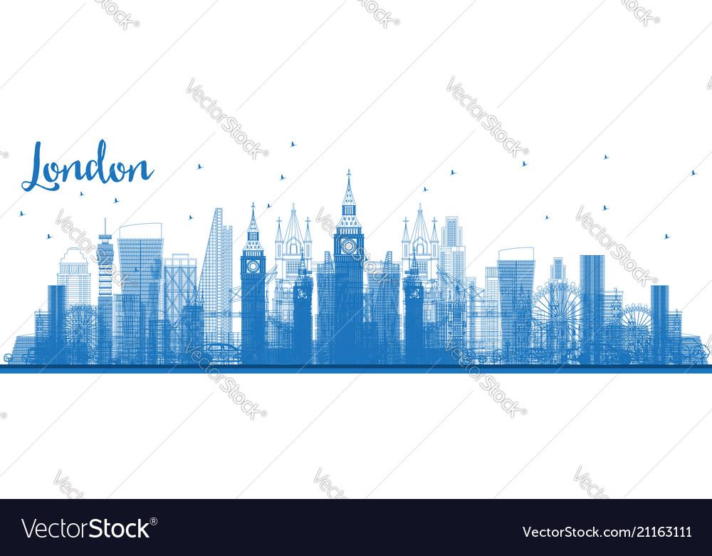 Outline london city skyline with blue buildings
