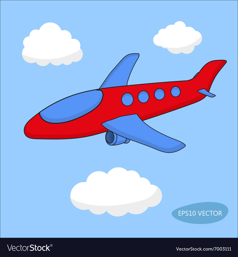 Red cartoon aircraft in clouds on blue background